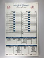 Florida Marlins Vs. New York Yankees game Used Lineup Card 6/21/2009