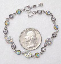 "Gorgeous Vintage Iridescent AB Crystal & White RS Link Floral Bracelet, 7"", ST"