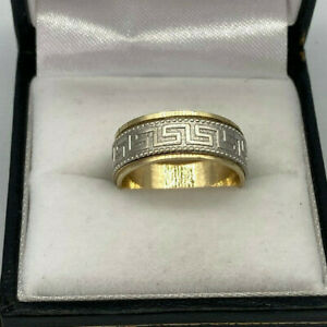 14ct Gold 2 x Colour Gold Greek Key Spinner Band Ring.  Goldmine Jewellers.