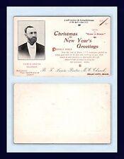 MICHIGAN IMLAY CITY 1895 CHRISTMAS & NEW YEAR'S GREETING M.E. PASTOR B.F. LEWIS