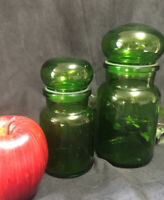 Vintage Belgium Green Glass Jars Canisters with Round Bubble Lids apothecary