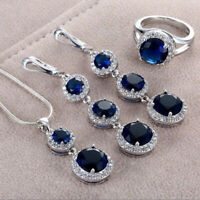 Hot 925 Silver Oval Cut Ruby Sapphire Ring Necklace Earrings Wedding Jewelry Set