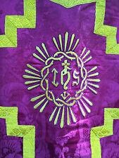 Chape Chasuble Doré Or Liturgique Broderie Prêtre Aube Ancien 30