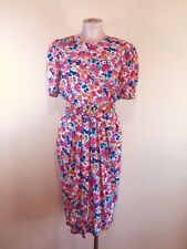 Vintage Floral Fitted Dress With Belt