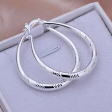 Oval Hoop Earrings For Women E294 Fashion 925Sterling Solid Silver Jewelry Cute