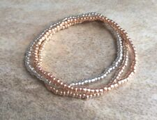 Rose Gold, Gold & Silver Stacking Set Of 3 Bracelets, Seed Beaded Stretchy
