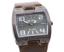 Zoo York Men's Analog Wrist watch (ZY1001 - Matte Gunmetal Case) Brown Strap