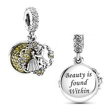 🇬🇧💜💜925 STERLING SILVER DISNEY BEAUTY & THE BEAST BELLE GASTON CHARM & POUCH