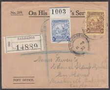 1933 Barbados OHMS PO;RLO;Registererd Bracknel Berks oval via Plymouth,Devon B/S