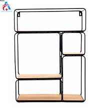 Wall Unit Metal Wire Wood Shelf Rack Storage Display Industrial Style Home Decor