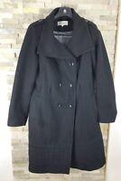 Calvin Klein Ladies Size 12 Black Mac Coat Jacket Wool Blend ( Missing Belt )