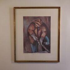 N2097 Estampe sur papier encadrement MARELLI signature RUTILI art déco PN France