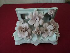 "Vintage Capodimonte flower box  rare Italy Italian Pottery sold as-is 9""x 8 x6 """