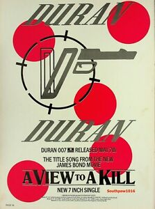 """1985  Duran Duran """"A View To A Kill"""" Song Release Music Industry Promo Ad Print"""