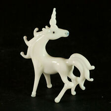 Glass White Unicorn Figurine Hand Blown Glass Collectible Animals Figure