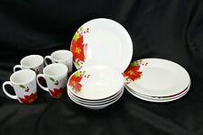 Poinsettia Luncheon Plates Bowls Mugs Lot of 12