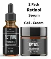 2Pk Hyaluronic Acid + Retinol & Vitamin C Anti-Aging Wrinkle GEL-CREAM + SERUM