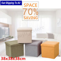 Fabric Linen Footstool Sofa Ottoman Folding Footrest Seat Lounge Storage Box