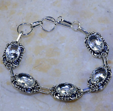 STUNNING NEW GENUINE FACETED WHITE TOPAZ DIAMOND LOOK SILVER BRACELET 7.5-8..25""