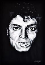 Michael Jackson in Acrilico Nero & Bianco Ritratto-A2