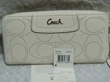 USED Coach Wallet off White Leather zip around perforated monogram very good