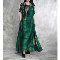 Womens Green Silk Satin Floral Printing Long Maxi Loose Casual Dress Gown Robes