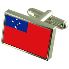Samoa Sterling Silver Flag Cufflinks In Engraved Personalised Box