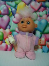 """BABY GIRL IN PJ's WITH HER BOTTLE - 3"""" Russ Troll Doll - NEW IN ORIGINAL WRAPPER"""