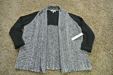 DKNYC Open Front Cardigan Sweater M/L NWT$119 Sexy Black & GREY Cable Knit!