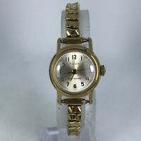 Vintage Timex Womens Gold Stainless Steel Wind Up Mechanical Bracelet Watch