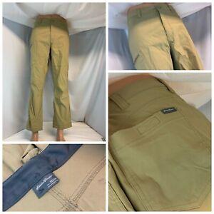 Eddie Bauer Hiking Pants 36x29 Tan Nylon Lycra Flat Front LNWOT YGI A1-517
