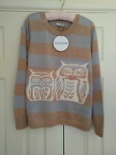 Marks & Spencer Owl Jumper From The Indigo Collection Size 18 Acrylic & Mohair