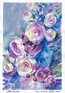 original painting 22 x 31,5 cm 466KO art samovar Modern watercolor flowers roses
