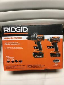 New RIDGID 18V Brushless Hammer Drill and 3-Speed Impact Driver Comb Kit (R9208)