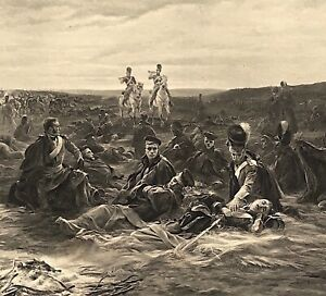 Military Dawn at Waterloo by Lady Butler E. S. Thompson c1898 Photogravure Print