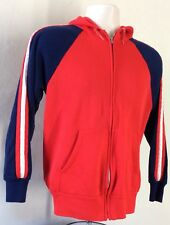 Vtg 80s Red And Blue Raglan Hoodie S Hooded Sweatshirt Jacket Stripes Zip Up
