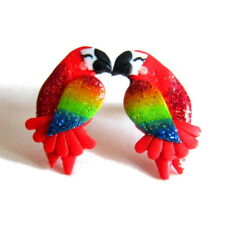 Big Stud Red Colorful Handmade Parrot Tropical Beach Jewelry Earrings Fashion