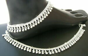 HANDMADE PURE SILVER ANKLET PAIR INDIAN PAYAL 58 GRAM 12''  FREE SHIPPING