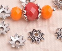 100pcs 8mm Tibetan Silver Bead Caps Flower Spacer Metal Beads Jewelry Findings