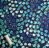 Ava Blue Floral Cotton Fabric by Michael Miller * FQ, Half or Metre Length *