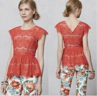 Anthropologie $128 Maeve Katrine Red / Nude Lace Peplum cap sleeveTop Sz large L