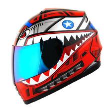 DOT Motorcycle Youth Full Face Helmet Kids Bike Shark Marine Shark Red