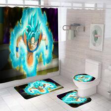 Dragon Ball Goku Super Saiyan Shower Curtain Mat Anti-Slip Toilet Lid Cover 4PCS