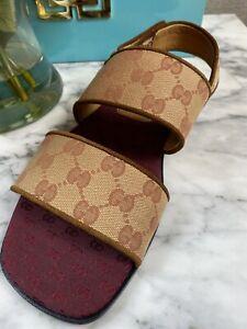 Gucci Men's BEIGE RUGGINE GG Monogram Canvas Sandals Size EU 6 1/2 6+  (US 7.5)