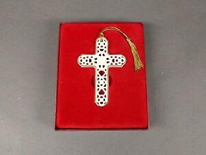 New Lenox Ivory Cross Christmas Ornament Gold Trim Pierced