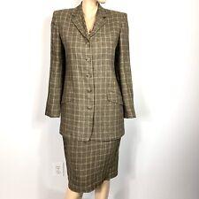 Anne Klein II skirt suit set jacket blazer Size 8 10 Plaid 100% Linen Vintage