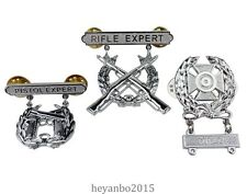 SET US Army Rifle Expert pin badge insignia & US Army Pistol Expert Pin silver