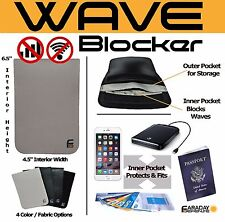 Cellphone XL 4.5x6.5 White PU Leather Shielding GPS WiFi EMP Signal Blocking Bag