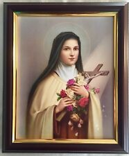 "ST SAINT THERESE / THERESA OF LISIEUX - Wood Framed Picture / Print - 12"" x 10"""