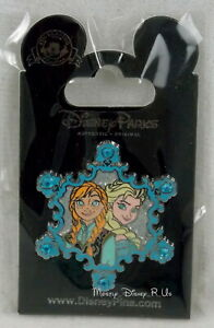 Disney Parks Pin Trading FROZEN Jeweled Snowflake Elsa & Anna Pin New on Card